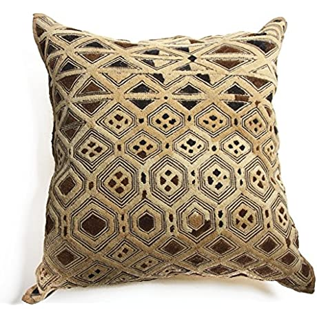 Kuba Golden Square Pillow Brown Yellow 22 Wx23 H