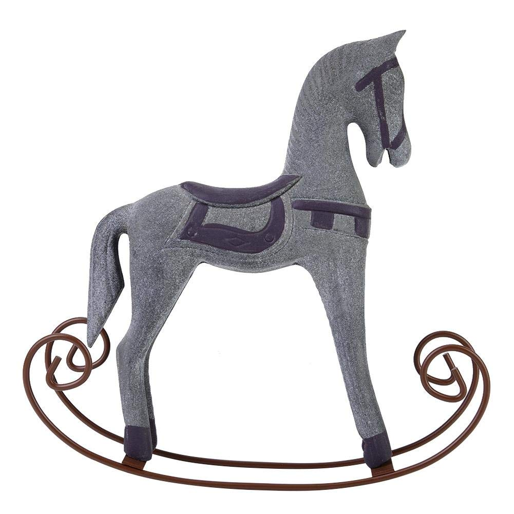 Fdit European Logs Handmade Wooden Painted Carved Rocking Horse Creative Animal Gifts Table Decoration in Home Office Cafe Bar(Grey)
