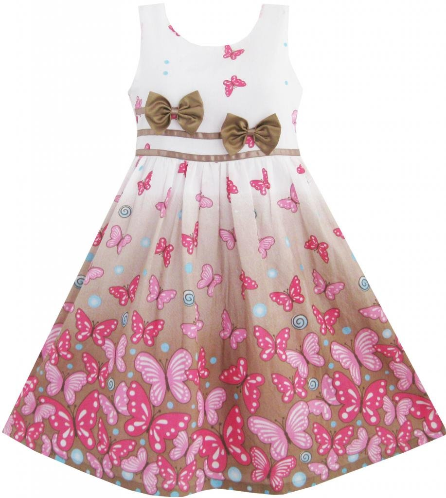 Girls Dress Brown Butterfly Double Bow Tie Party Kids Sundress CNUS0DZ83