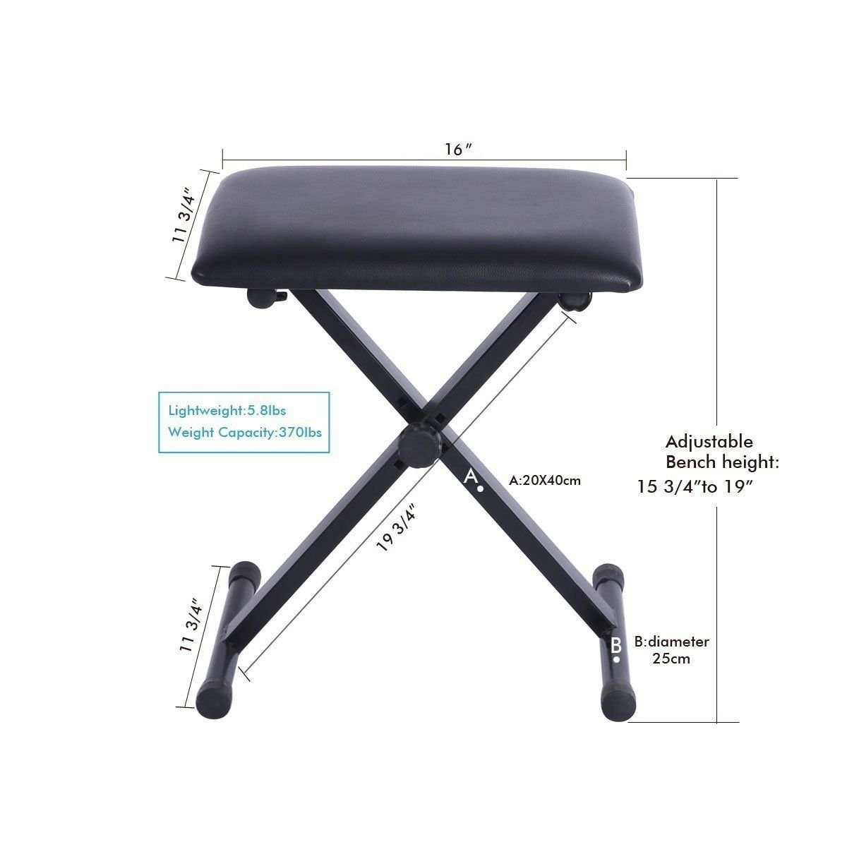 Portable Piano Keyboard Music X-Style Adjustable Padded Stool Chair Seat Bench