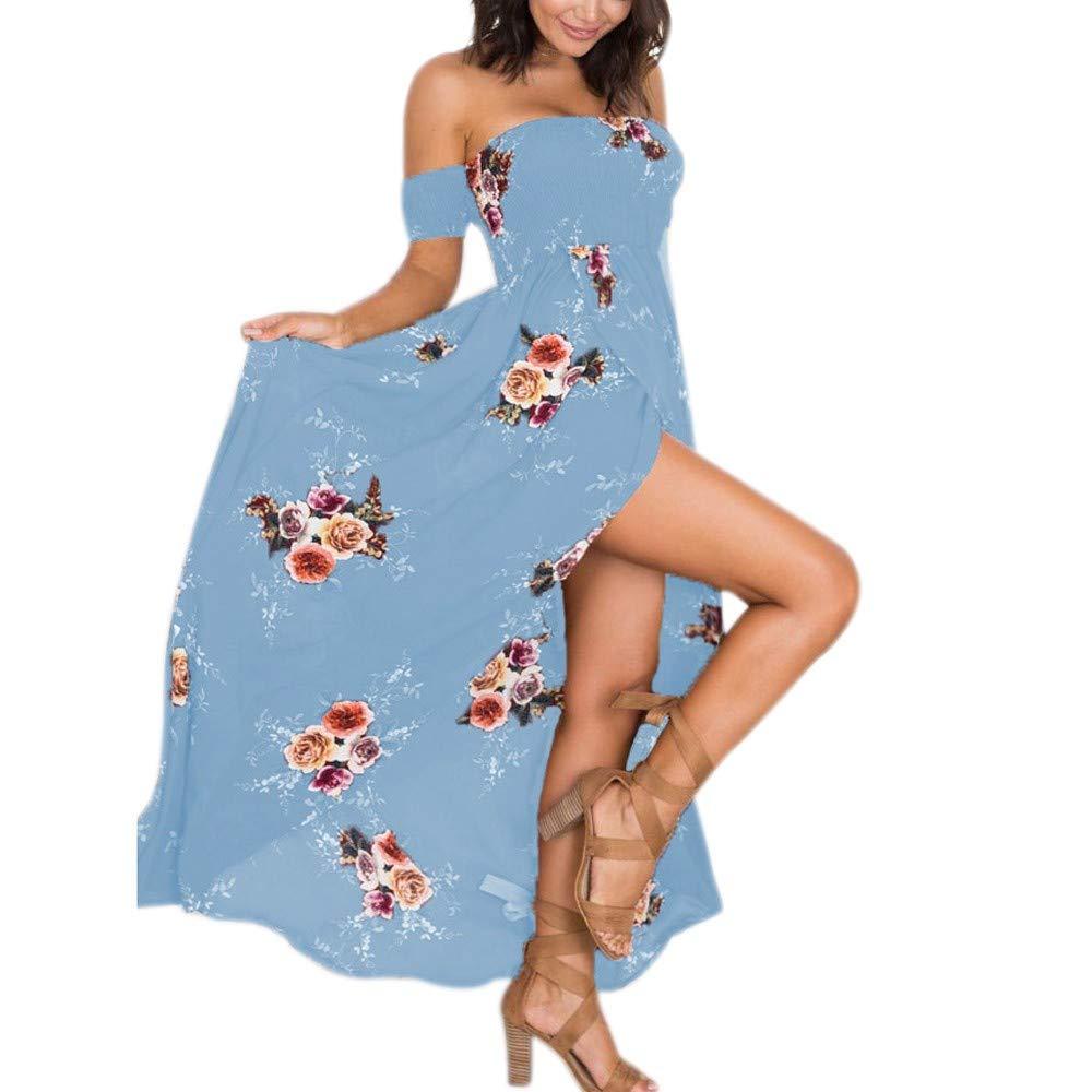 NPRADLA Gran tamaño de Las Mujeres Boho Fuera del Vestido Floral ...