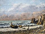 TWO BOATS ON THE BEACH by Gustave Courbet Tile Mural Kitchen Bathroom Wall Backsplash Behind Stove Range Sink Splashback 8x6 4'' Marble, Matte