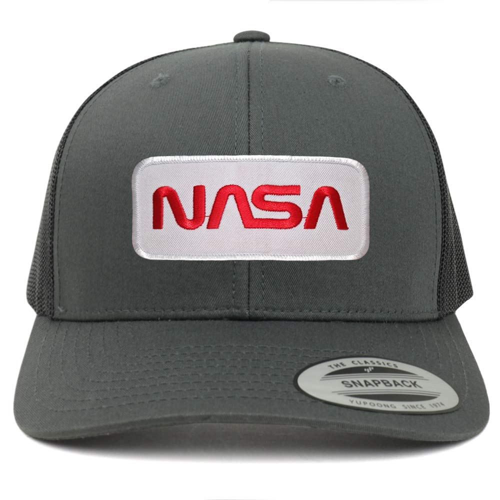 Armycrew Flexfit Oversize XXL NASA Worm Red Text Patch Retro Trucker Mesh Cap