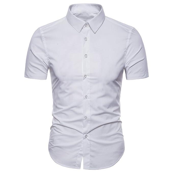 Manwan Walk Men s Dress Shirts Slim Fit Short Sleeve Casual Business Cotton Button  Down Shirts ( e71dc056662f