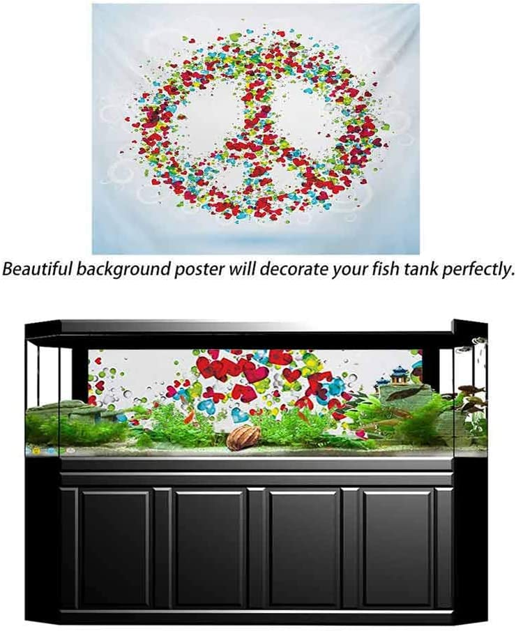 ScottDecor Groovy Undersea Backdrop for Photography Peace Symbol Made by Hearts Unity Lack of Conflict No More Hostility Theme Illustration Home Fish Tank Backdrop Multi L30 X H18 Inch