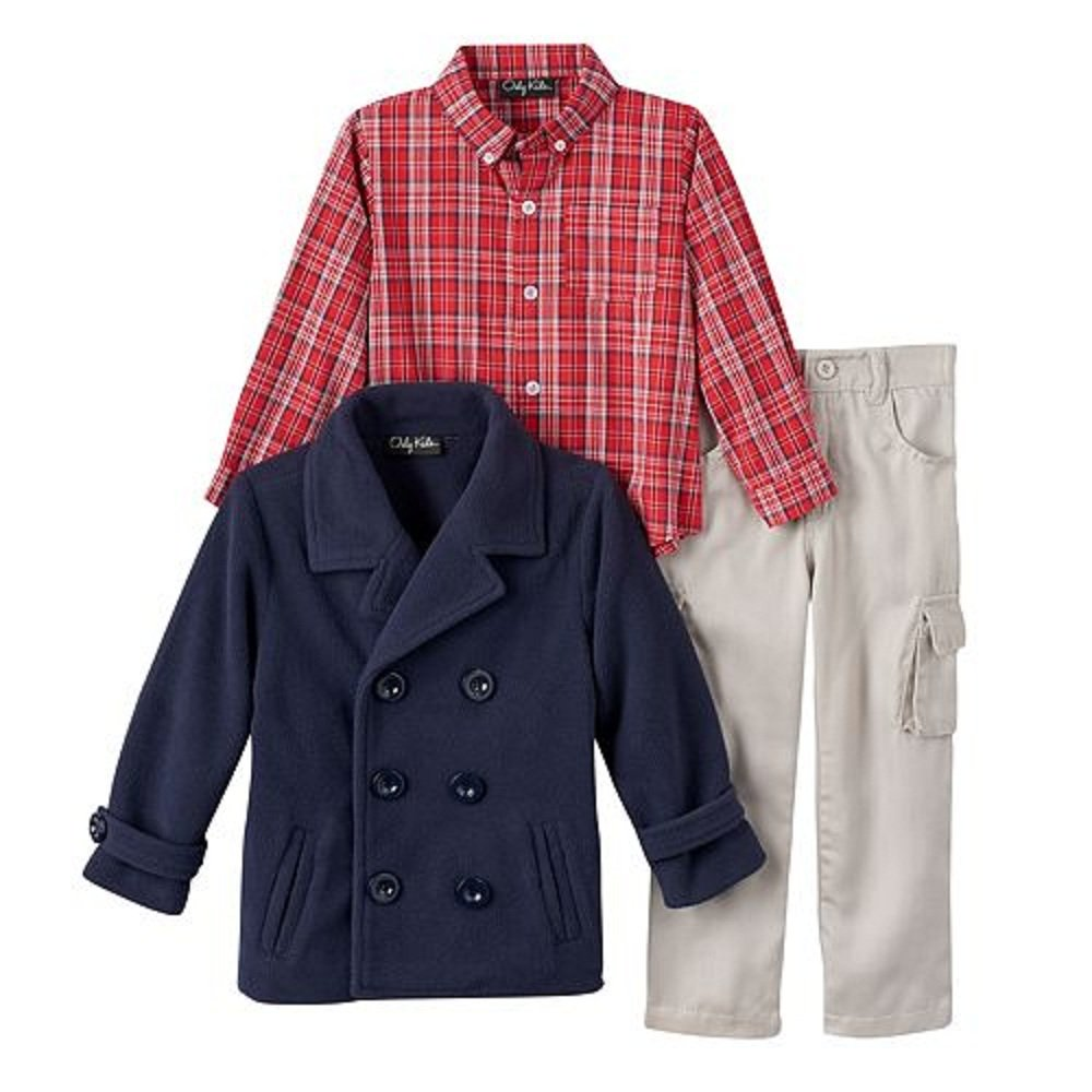 Only Kids Boys Three Piece Mikey Pea Coat Plaid Button Down Shirt and Pants Set Navy Three 6M