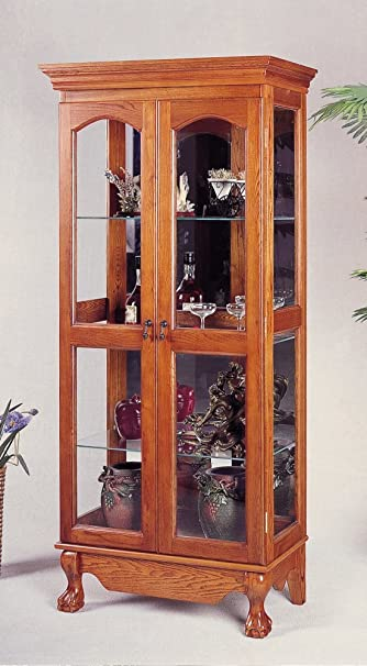 Coaster Queen Anne Style Double Door Curio China Cabinet, Solid Oak Wood