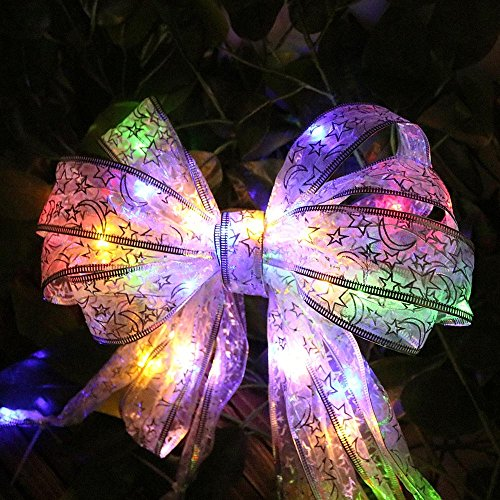 Velidy Lace Ribbon String Lights,40leds 13ft Beauty Colorful Battery Powered Copper Wire Fairy Night Lighting for Xmas Tree Home Party Gift Box Wedding Dorm Bedroom Decoration ()