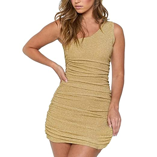 a73f1a8980c32 Women Dress Plus Size One Shoulder Sleeveless Solid Color Backless Bodycon  Slim Fit Dresses (S
