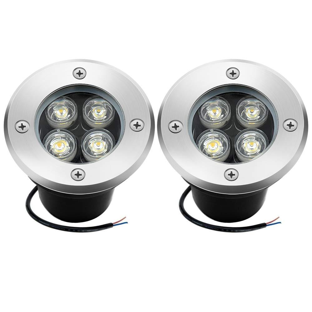 4W Low Voltage Landscape Lights, Sunriver 12V 24V LED Pathway Deck Lighting IP67 Waterproof Outdoor In-ground Well Lights (2 Pack)