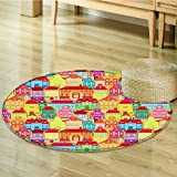 Small round rug Carpet s Arts With s And Fountains door mat indoors Bathroom Mats Non Slip-Round 39''
