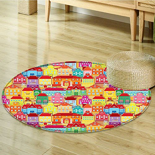 Small round rug Carpet s Arts With s And Fountains door mat indoors Bathroom Mats Non Slip-Round 39'' by Liprinthome