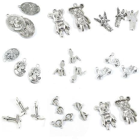 87174788fcc6 25 piezas de abalorios de plata envejecida para hacer joyas