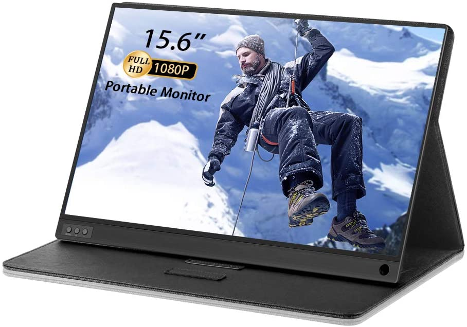 """PONKLOIE Portable Monitor 2021 Newest 15.6"""" USB C FHD 1080P with HDMI IPS HDR Screen Computer Display Built-in Dual Speakers for Laptop PC Phone PS3/4 Xbox Included Waterproof Cover & Screen Protector"""