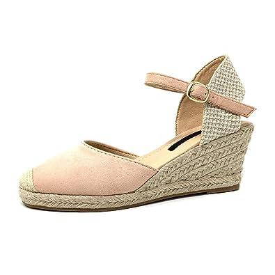 prezzo speciale per modelli alla moda scarpe da corsa Angkorly - Scarpe Moda Sandali Espadrillas Aperto Donna Ricamo Corda Lucide  Tacco Zeppa Piattaforma
