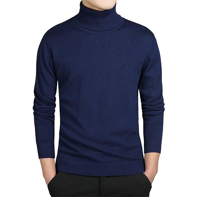Jerseys de cuello alto hombres sólidos jerseys de manga larga suéter de los hombres  jerseys jerseys Jersey hombre baratos suéteres de invierno blue XL  ... 7564aadd8347