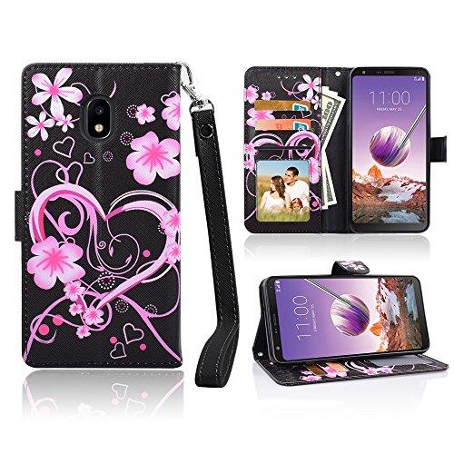"for 5.5"" Galaxy J7 2018, for Samsung Galaxy J7 Aero/J7 Star/J7 Top/J7 Crown/J7 Aura/J7 Refine/J7 Eon Phone Case Wallet Grip Kickstand Pouch Pocket Purse Screen Flip Cover (Rosy Heart)"