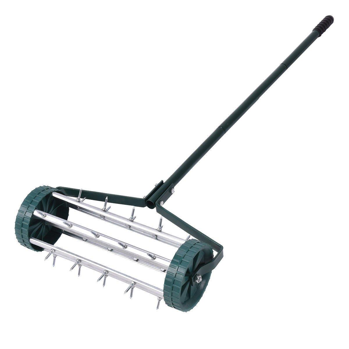 Heavy Duty Rolling Garden Lawn Aerator Roller Home Grass Steel Handle Green