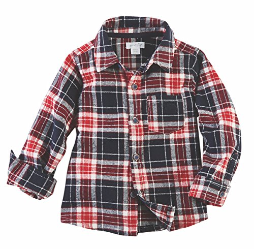 Mud Pie Baby Boy's Long Sleeve Flannel Button Down Shirt (Infant/Toddler) Blue MD (2T-3T Toddler)