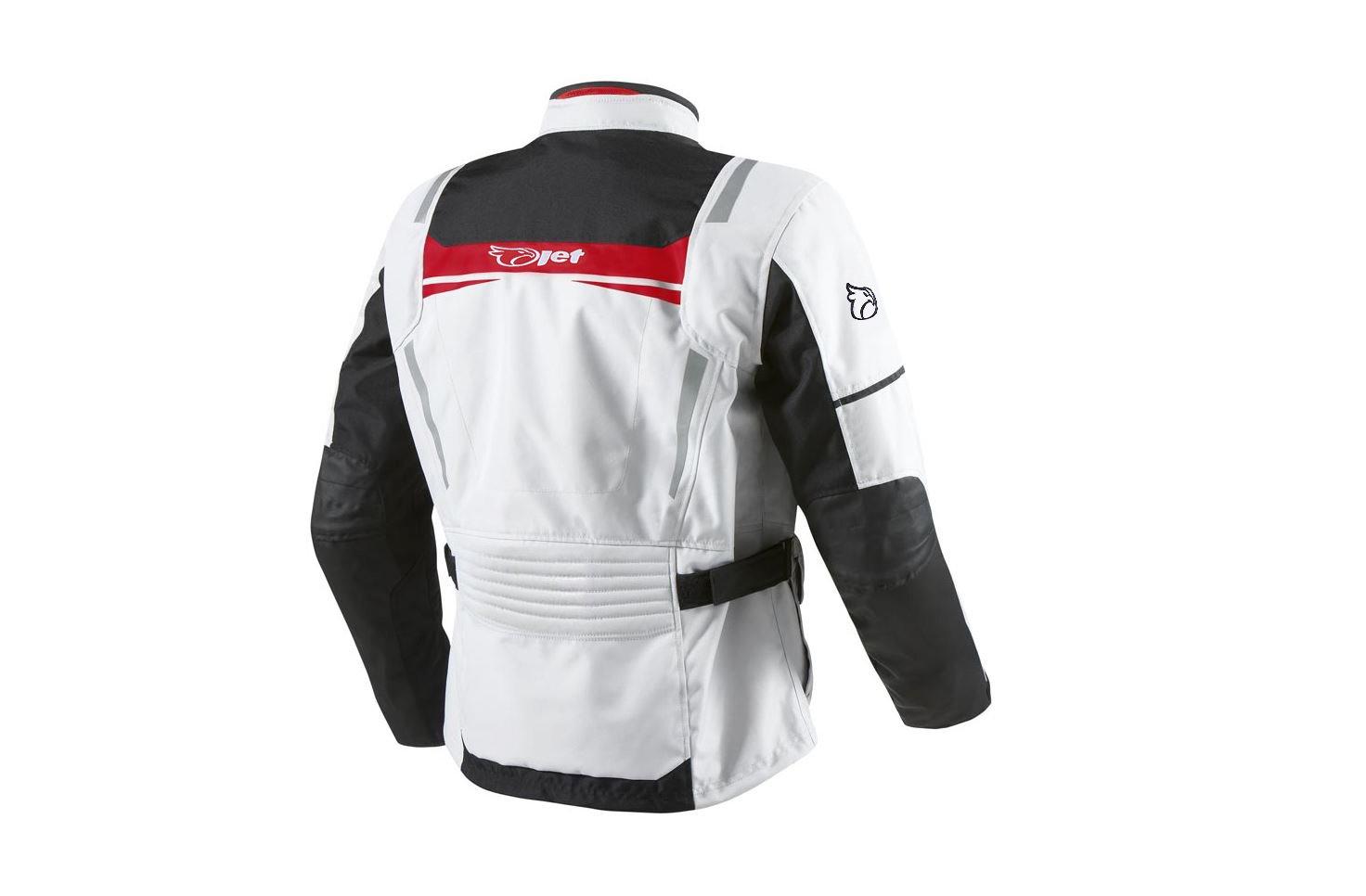 JET Blouson Veste Moto Homme Imperm/éable avec Armure Textile Aquatex EU 60-62 Blanc Rouge, 5XL