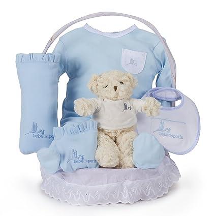 Canastilla regalo bebé Clásica Esencial con Osito Teddy BebeDeParis-Azul- cesta regalo recién nacido