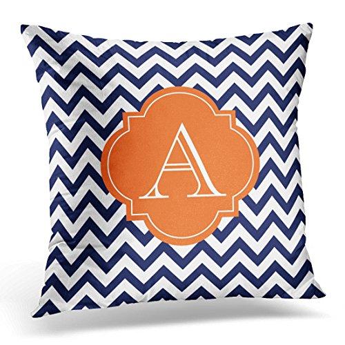 Emvency Throw Pillow Cover Stripes Striped Navy Blue White Chevron Orange Monogrammed Decorative Pillow Case Home Decor Square 18 x 18 Inch Pillowcase