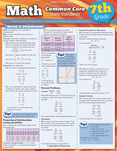 Math Common Core 7Th Grade (Quick Study: Academic) -  Inc. BarCharts, Cards