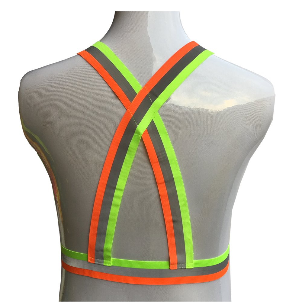 ZOJO Reflective Vest | Lightweight, Adjustable & Elastic | Safety & High Visibility for Running, Jogging, Walking, Cycling | Fits over Outdoor Clothing (Pack of 10, Mixture Neon Orange & Yellow) by zojo (Image #4)