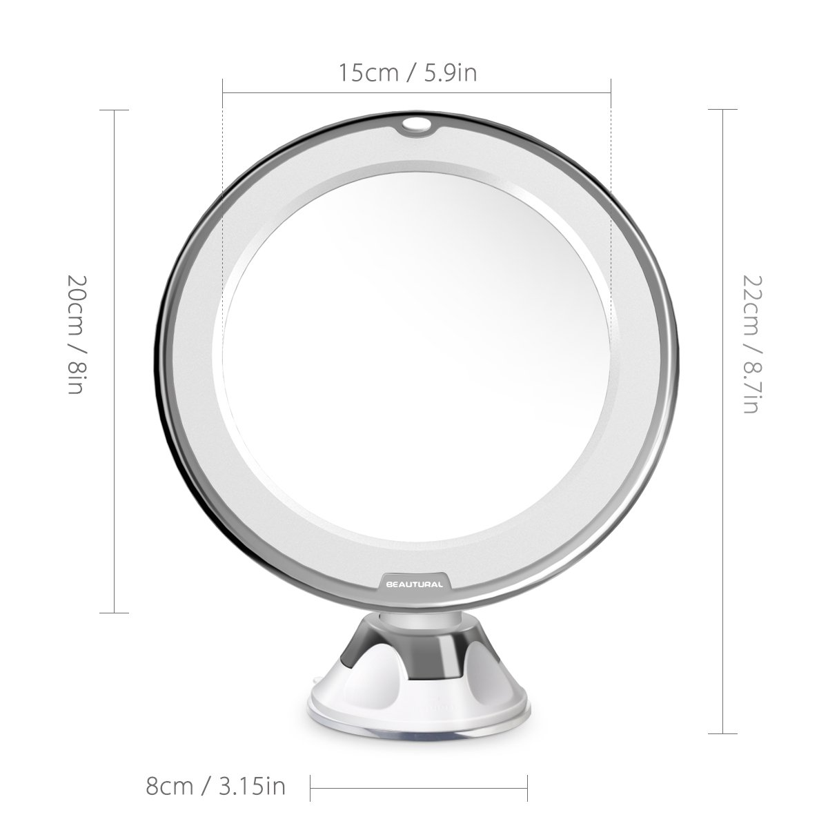 Beautural 10X Magnifying Lighted Vanity Makeup Mirror with Natural White LED, 360 Degree Swivel Rotation and Locking Suction by Beautural (Image #8)