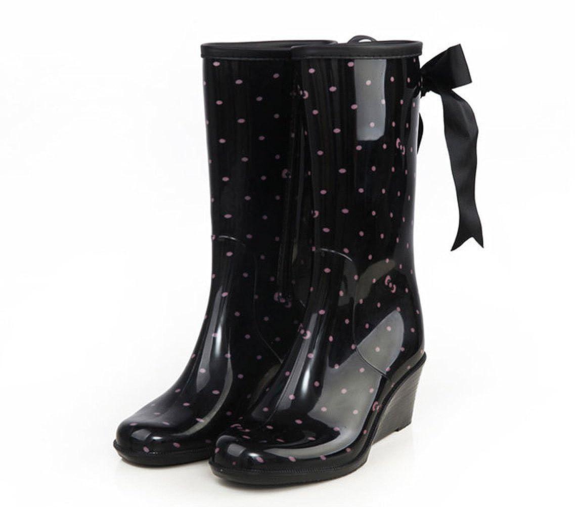 f61ca6b7d7e73 Utopia Boutique Women s Wedges Heeled Knee High Rain Boot Pink 8 M US   Amazon.ca  Shoes   Handbags