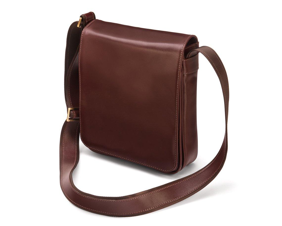 SAGEBROWN Dark Tan Large Portrait Messenger Bag