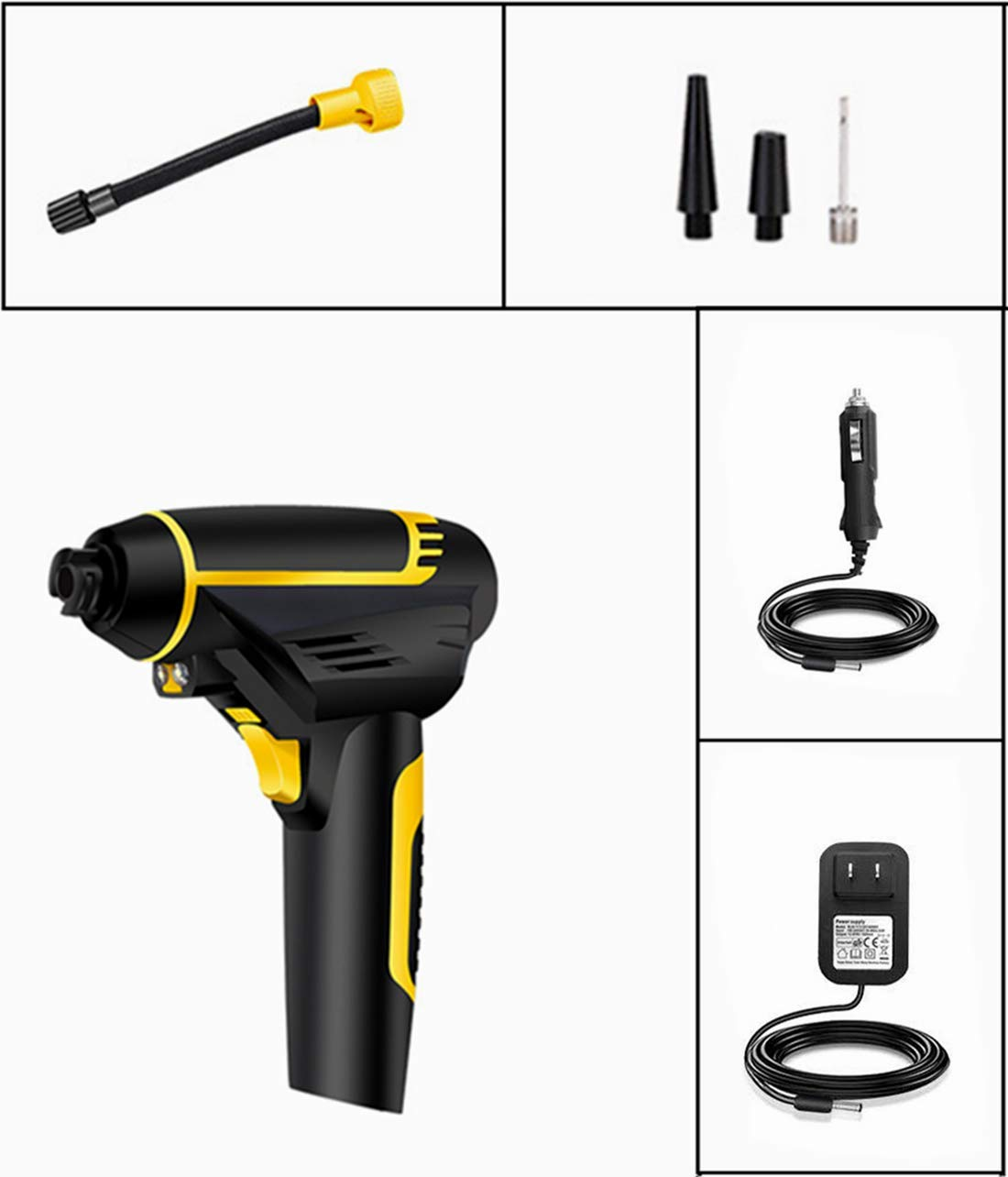 Portable Cordless Air Compressor Pump - Aifulo Automatic Hand Held Tire Inflator with Tire Pressure Gauge 150PSI Digital LCD LED Rechargeable Handy Air Pump