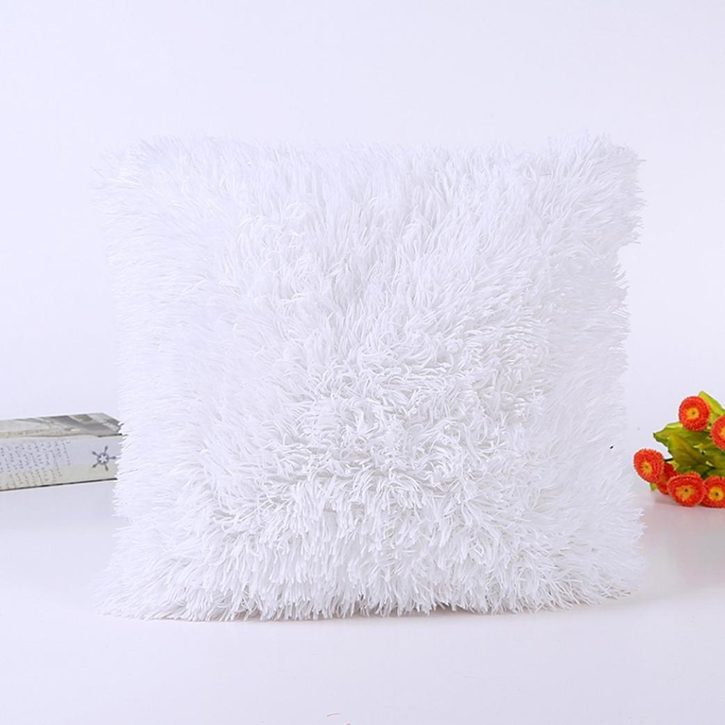 Plush Cushion Pillow Cover,Elaco Sofa Cushion Waist Throw Cushion Cover Home Decor Cushion Cover Case (White-B) by Elaco (Image #2)