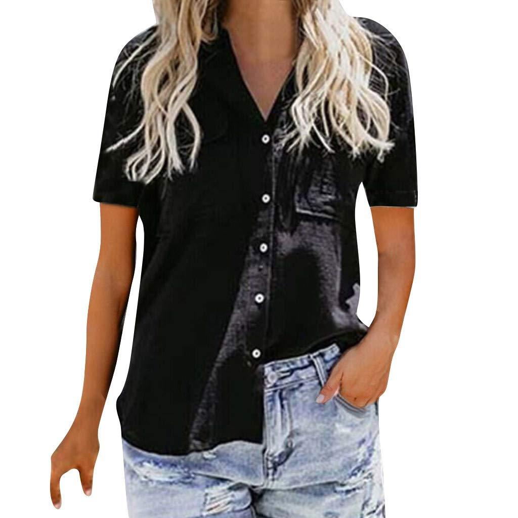 TnaIolral Ladies T-Shirt Loose Button Short Sleeve Shirt Cotton Summer Tops Blouse (2XL, Black)