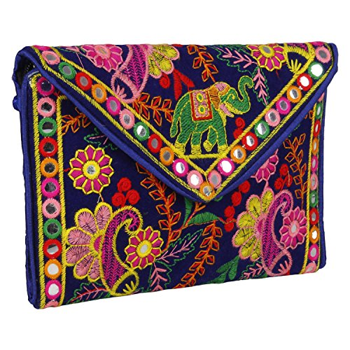 Cute Handmade Ethnic Embroidered Banjara foldover Clutch Purse-Sling Bag-Cross Body Bag (Blue Color)