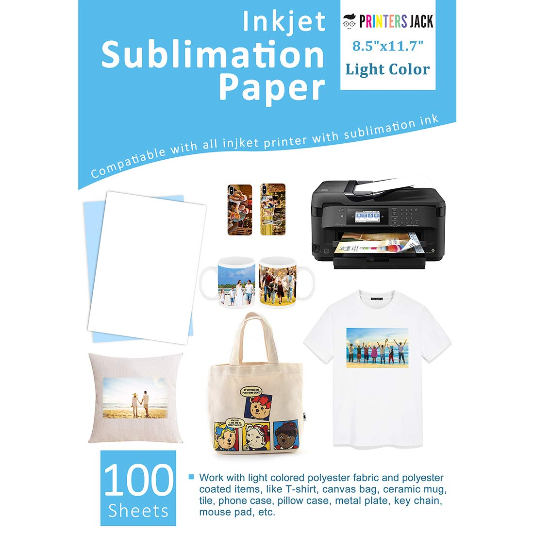 Sublimation Paper Heat Transer Paper 100 Sheets 8.3'' x 11.7'' for Any Epson HP Canon Sawgrass Inkjet Printer with Sublimation Ink by Printers Jack