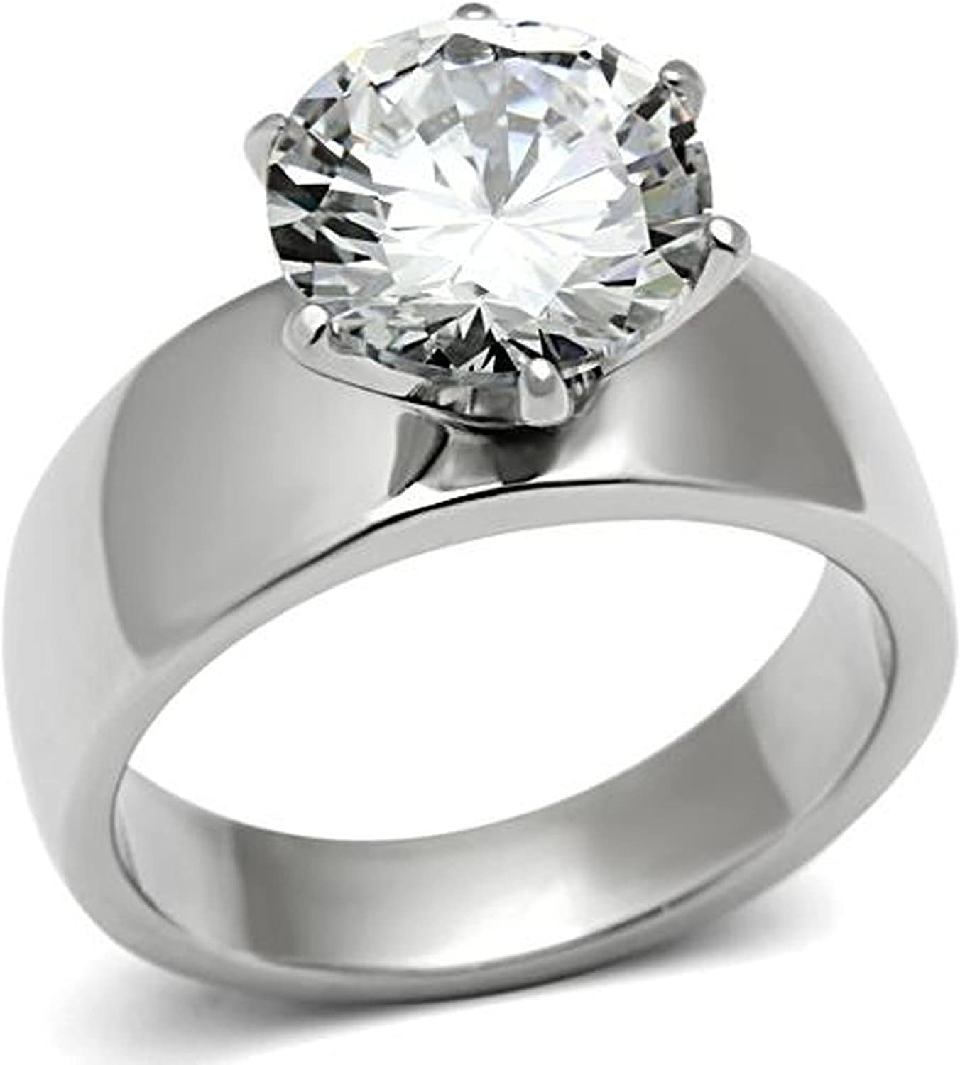 Amazon Com Lanyjewelry Wide Band Big Solitaire 3 5 Carat Cz Womens Stainless Steel Wedding Ring Jewelry
