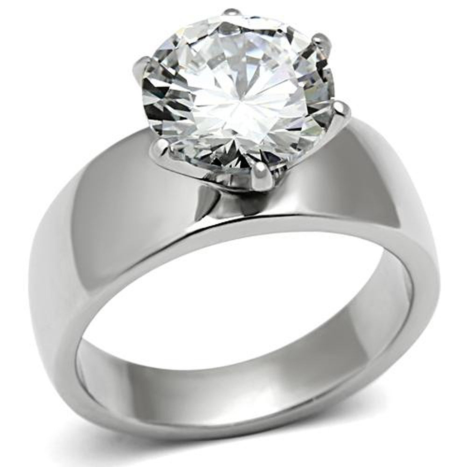 Amazon Lanyjewelry Wide Band Big Solitaire 35 Carat Cz Womens Stainless Steel Wedding Ring Jewelry: Women Wedding Rings Wide Band Solitaire At Reisefeber.org