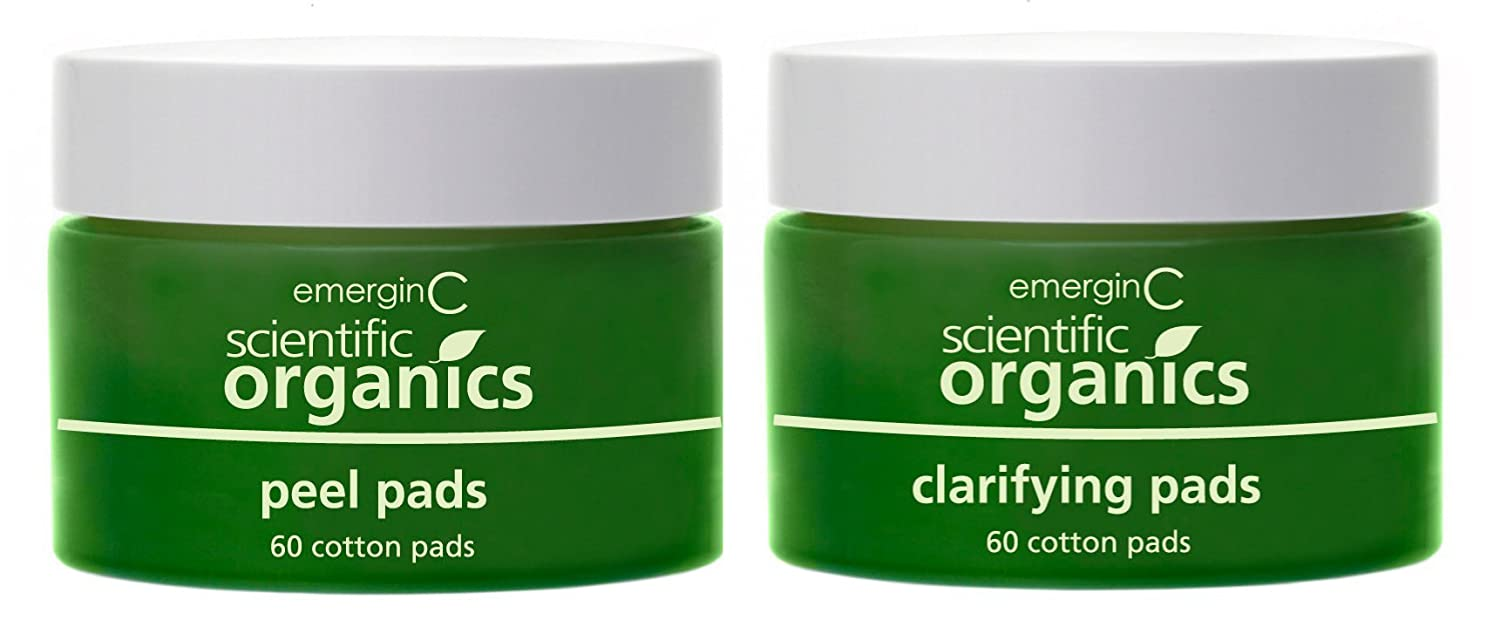 emerginC Scientific Organics At-Home Facial Peel + Clarifying Kit - Exfoliating Pads to Help the Appearance of Fine Lines, Uneven Texture + Tone (60 Treatments)