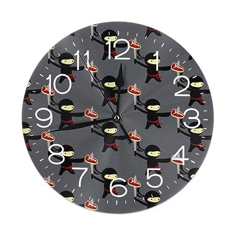 Jxrodekz Wall Clock Pizza Ninja Decorative Wall Clock Silent ...
