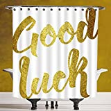 make your own luck dc - Fun Shower Curtain 3.0 by SCOCICI [ Going Away Party Decorations,Good Luck Wish Note Hand Written Lettering Greeting Card Concept,Gold ] Bathroom Accessories with Hooks