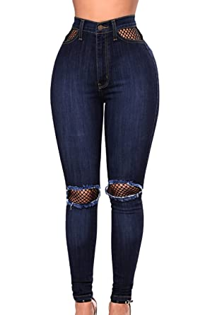 a184bdf063c Ouregrace Womens High Waisted Butt Lift Stretch Ripped Fishnet Mesh Denim  Splice Distressed Denim Pants Skinny Jeans at Amazon Women's Jeans store