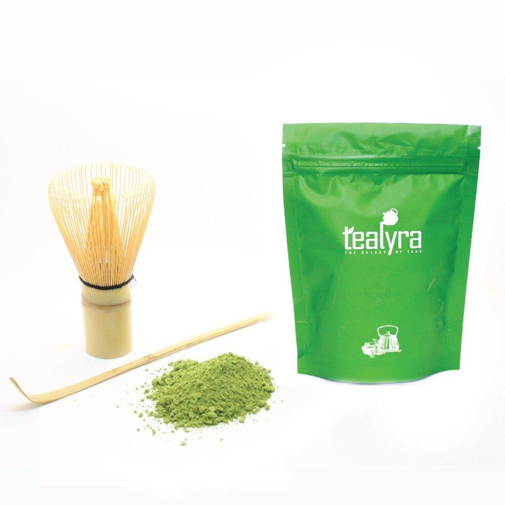Tealyra - Premium - 50-gram - Izu Japanese Matcha Green Tea - Matcha Bamboo Whisk 100 Prong and Scoop - Ceremony Matcha Start Up Gift Set - Japanese Matcha Accessories - 3 Piece Kit