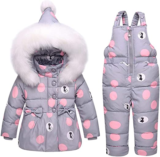 M/&A Girls Floral Puffer Jacket Fur Hooded Winter Coat Warm Outerwear Mid Length