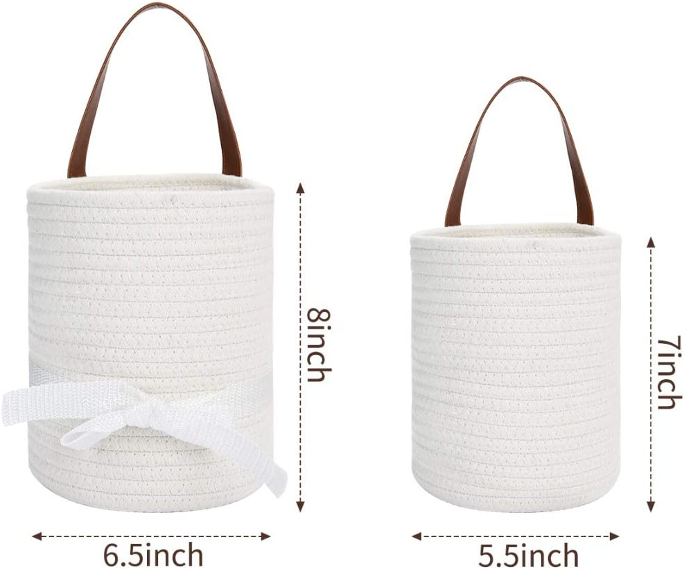 AXABING Wall Hanging Storage Baskets,2PCS Cotton Hanging Rope Wall Basket Woven Storage Basket Suitable for Home Decoration and Festival Gifts 8 /× 6.5 and 7 /× 5.5