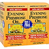 4 Pack of American Health Royal Brittany Evening Primrose Oil Twin Pack - 1300 mg - 120+120 Softgels - - -