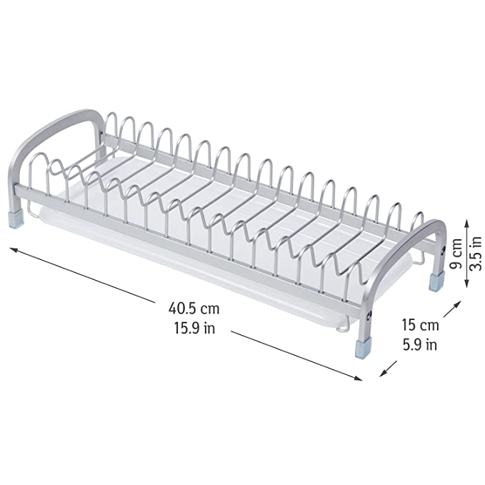 Tatkraft Helper Escurreplatos de Aluminio Anodizado Incorrosible con Bandeja 40,5X15XH9 cm: Amazon.es: Hogar