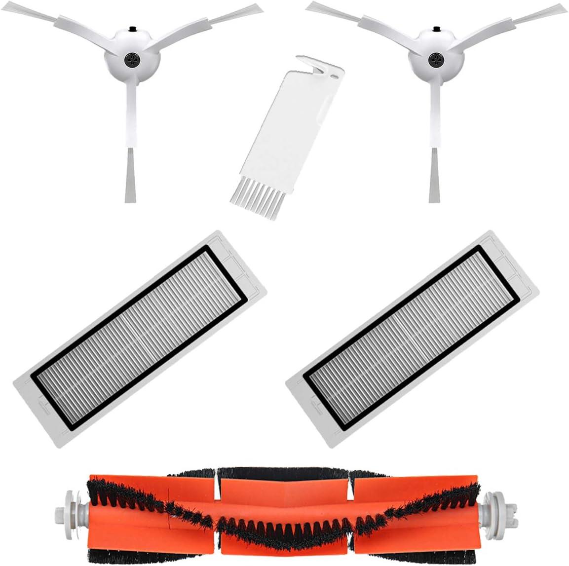 MIRTUX Pack Esencial de recambios para Xiaomi Mi Robot Vacuum 1 y 2. Kit de Accesorios de Repuesto para Robots Aspirador Xiaomi Roborock S50 S51 Conjunto de 1 Rodillo, 2 cepillos Laterales,