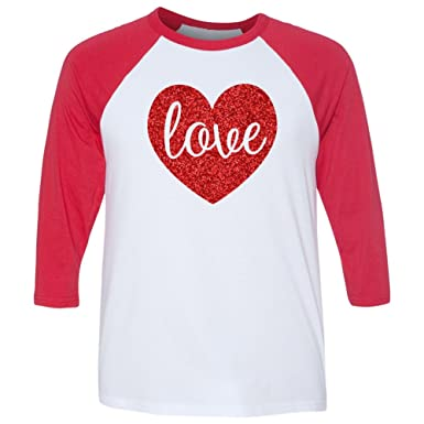 Valentine S Day Sparkly Glitter Raglan Shirt Adults At Amazon