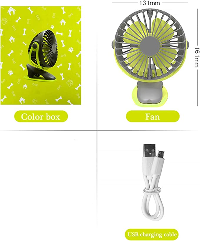 Color : Blue USB Table Desk Personal Fan Mini Fan Small Rechargeable 3600mAh Battery Student Hostel Office Mute Portable USB Outdoor for Home Office Table